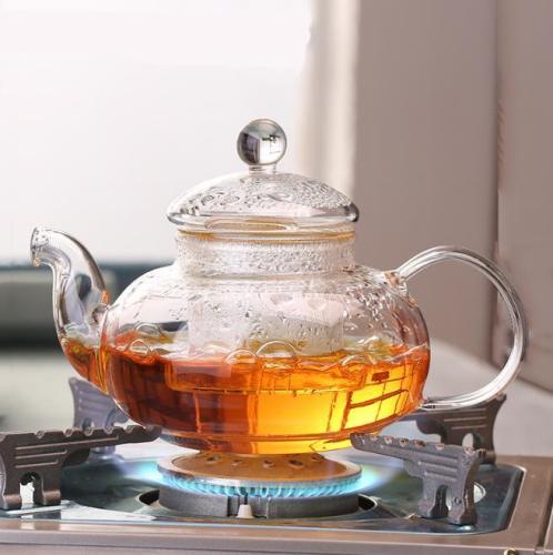 M&D Glass Tea Maker - Glass Teapot with Removable Glass Strainer, Microwave & Dishwasher Safe, Tea Pot with Blooming, Loose Leaf Tea Sampler