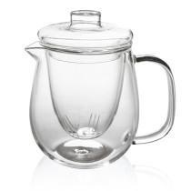 M&D Tea Kettle Infuser - Glass Teapot with Removable Glass Strainer, Microwave & Dishwasher Safe, Tea Pot with Blooming, Loose Leaf Tea Sampler, Tea Maker