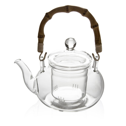M&D Glass Teapot, Glass Teapot with Removable Infuser and Bamboo Handle, 14 oz Clear Tea Pot for Blooming Tea, Loose Tea, Flowering Tea Pot Gift Set, Scale line Borosilicate Glass Teapot Stovetop Safe Cover Tea Brewer Guide