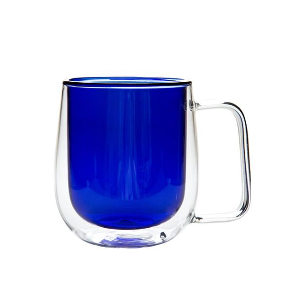 Blue Color Double Wall Glass Coffee Mug,Handmade, 250ml