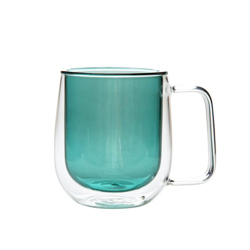 Green Color Double Wall Glass Coffee Cup,Handmade, 1-PACK, 250ml