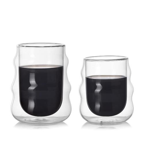 Double-Wall Insulate Glass Coffee Mug, Handmade, 200ml and 300ml