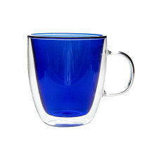 Blue Color Double Wall Glass Coffee Cup,Handmade, 1-PACK, 250ml