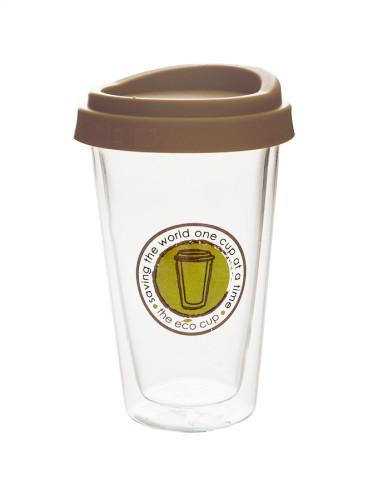 M&D Double-Wall Insulate Glass Coffee Mug, Green Label, 12 Ounces Each ,350ml