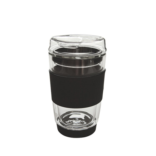 200ml Double-Wall Insulate Glass Coffee Mug With Glass Lid, 8oz
