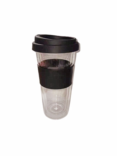 400ml Double-Wall Insulate Glass Coffee Mug With Silicone Lid and Silicone sleeve, 14oz