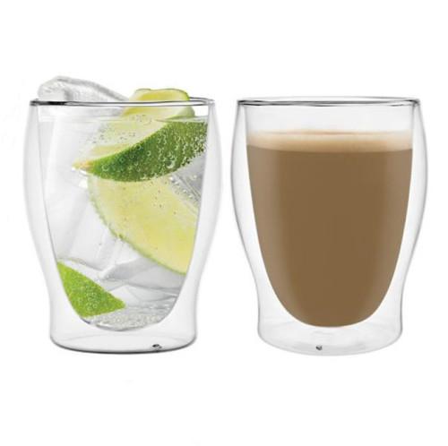 350ml Double Wall Glass Mug Coffee Cup Creative Milk Tea Glass Drinkware, 2pcs