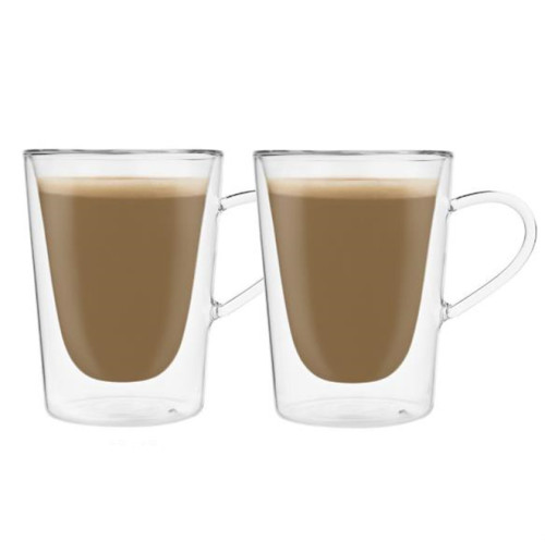 300ml Double Wall Glass Mug Coffee Cup Creative Milk Tea Glass Drinkware, 2pcs