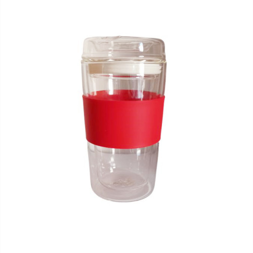 300ml Double-Wall Insulate Glass Coffee Mug With Glass Lid and Silicone sleeve, 10oz