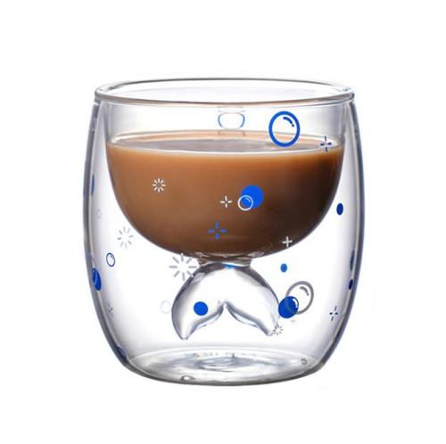 220ml Double Wall Glass Mug Coffee Cup Creative Milk Tea Glass Drinkware