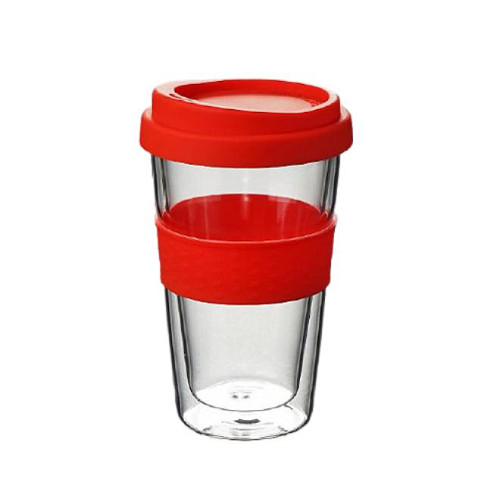 300ml Double-Wall Insulate Glass Coffee Mug With Silicone Lid and sleeve