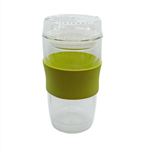 300ml Double-Wall Insulate Glass Coffee Mug With Glass Lid and sleeve