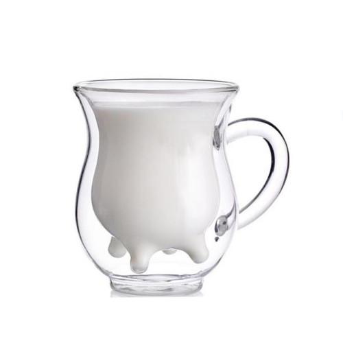 250ml Double Wall Glass Mug Coffee Cup Creative Milk Tea Glass Drinkware