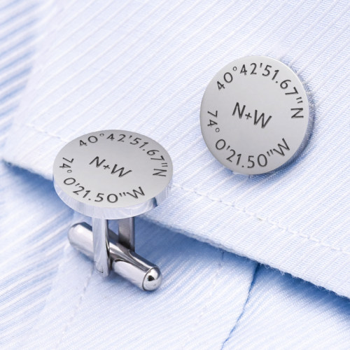 Personalized Latitude Longitude Cufflinks Make My Own Cufflinks Gift for Men