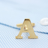 Golden Alphabets Cufflinks Letters Cufflinks Name Cufflinks Gift for Men