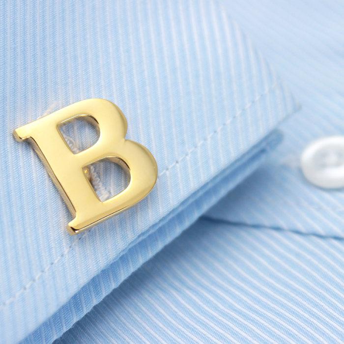 Golden Alphabets Cufflinks Letters Cufflinks Name Cufflinks Gift for Men