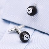 Black 8 Cufflinks Billiards Magic 8 Ball Cufflinks for Men Best Gift Idea for Dad