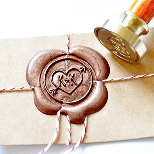 Make My Own Wax Seal Stamp Heart with Arrow 2 Initial Wax Seal Stamp