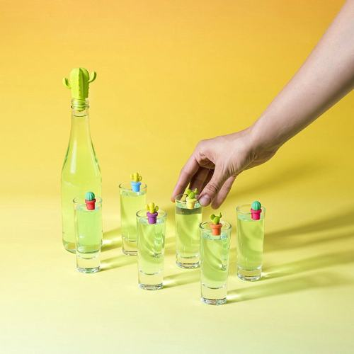 Cactus Wine Markers And Stopper Set