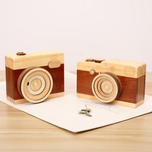 Wood Camera Music Box