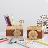 Wood Camera Pen Container