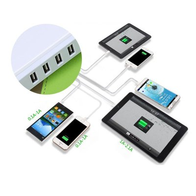 5 Ports High Speed Charger 30W USB Power Adapter Gift for Him