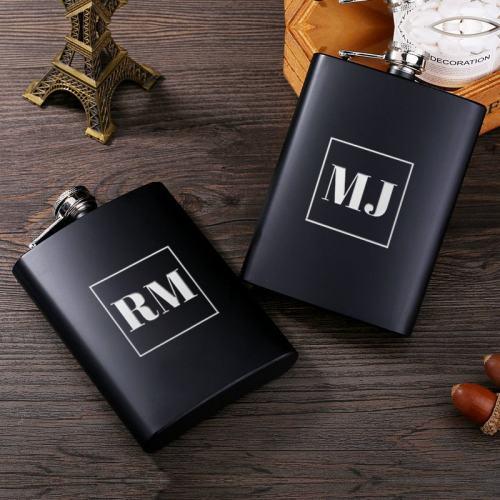 Personalized Square Monogram Flask II