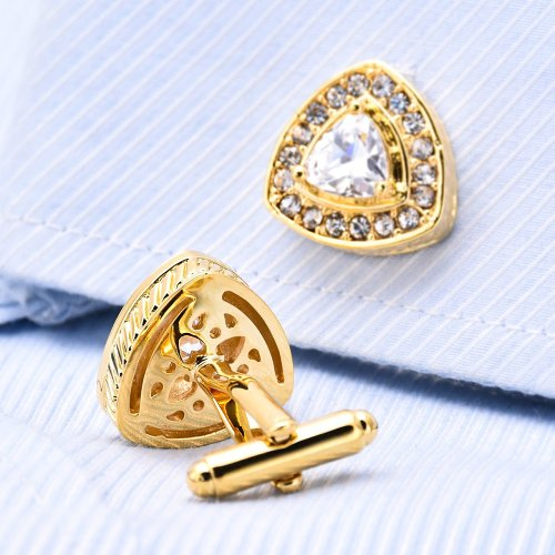 Luxury Gold Rhinestone Cufflinks