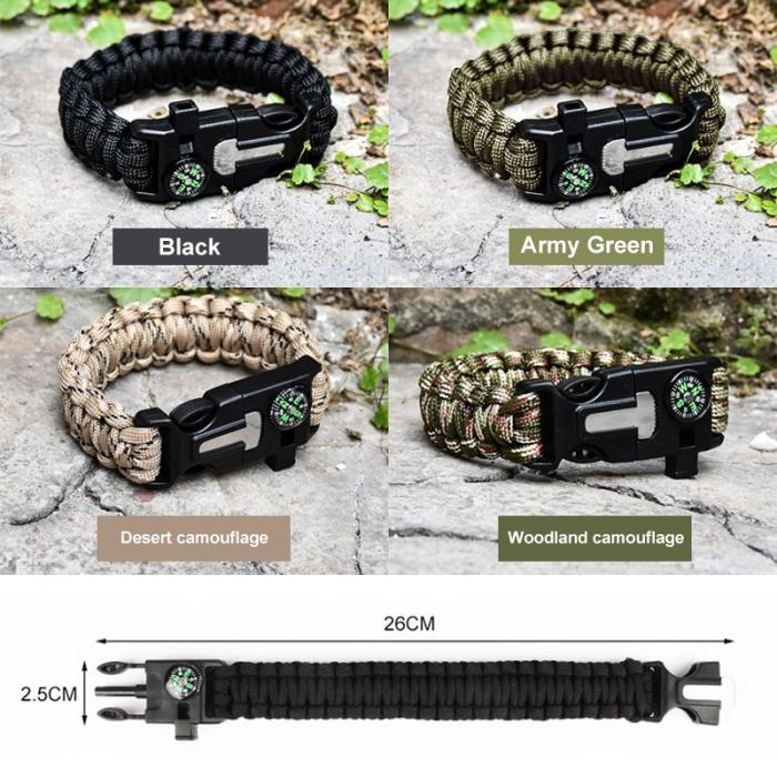 6 In 1 Multi-function Survival Bracelet Personalized Gifts for Him Father Team Bracelets Free Shipping