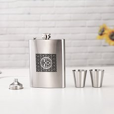 Personalized Chevron Monogram Flask