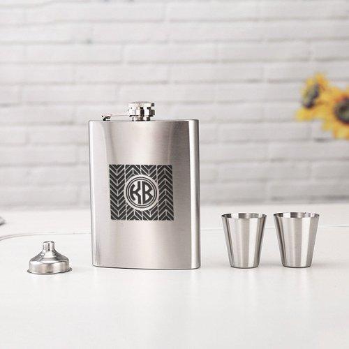 Personalized Chevron Monogram Flask