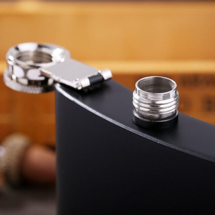 Personalized Black Flask Set