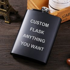 Personalized Black Flask Set