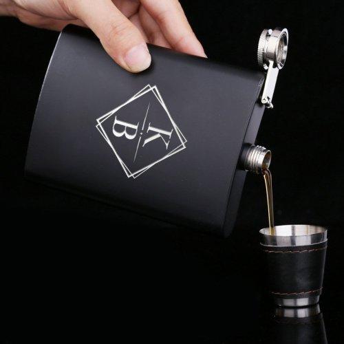 Personalized Square Monogram Flask