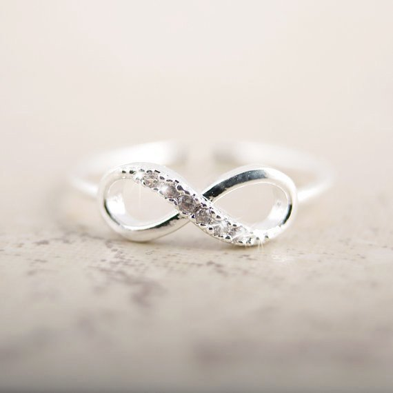 Rhinestone Silver Infinity Ring Personalized Jewelry