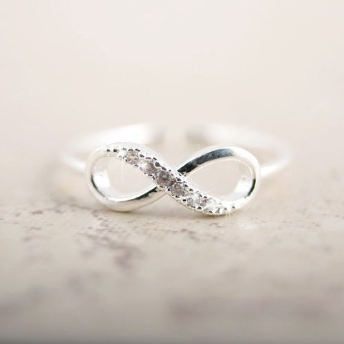 Rhinestone Silver Infinity Ring Personalized Jewelry