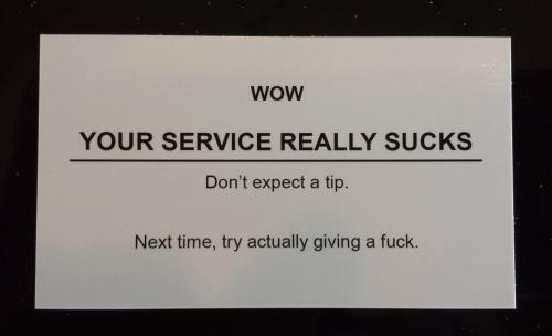 No Tip Card