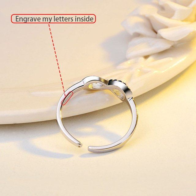 Rhinestone Silver Infinity Ring Personalized Jewelry, Personalized Jewelry Online : Veasoon