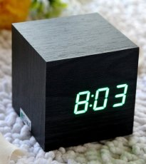 Cube Mini LED Wooden Digital Alarm Clock