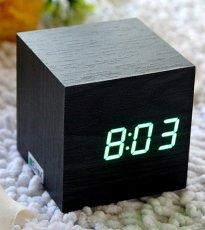 Cube Mini LED Wooden Digital Alarm Clock