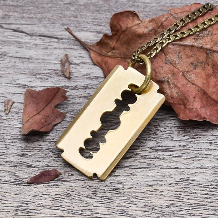 Brass Razor Blade Necklace