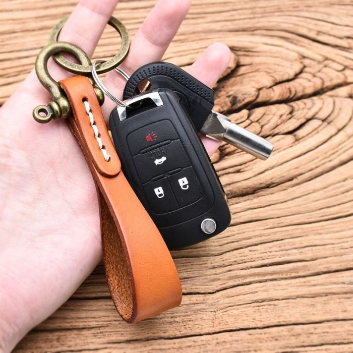 Handcrafted Leather Strip Keychain