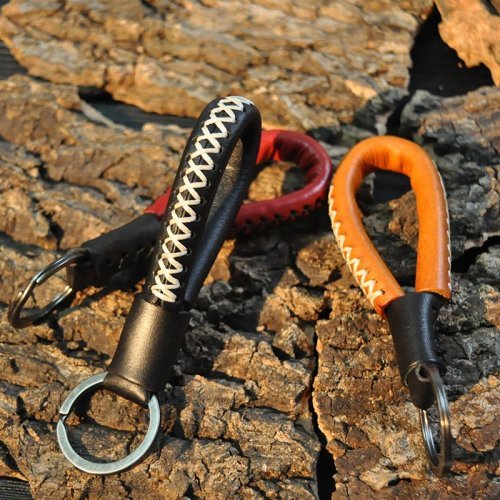 Warriors Leather Strap Keychain
