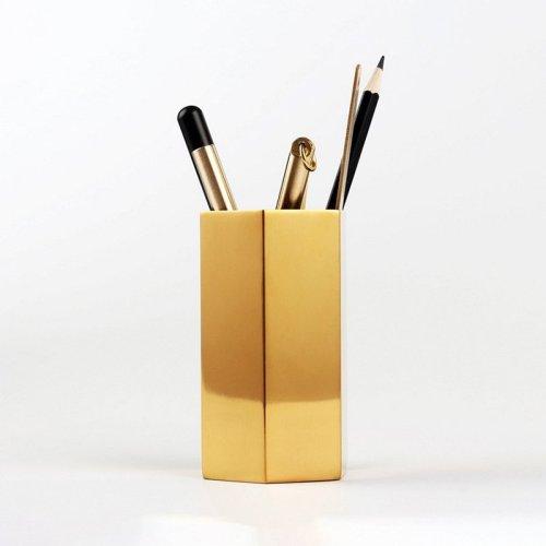 Hexagon Brass Desktop Organizer