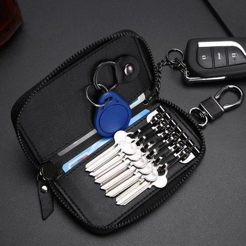 Woven Leather Key Wallet