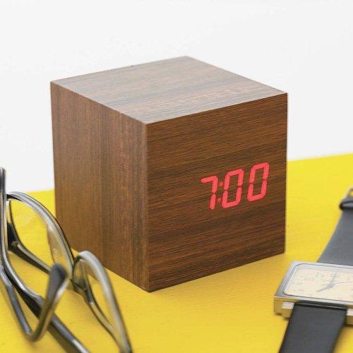 LED Teak Cube Alarm Clock