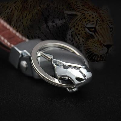 Genuine Crocodile Skin Leopard Head Keychain