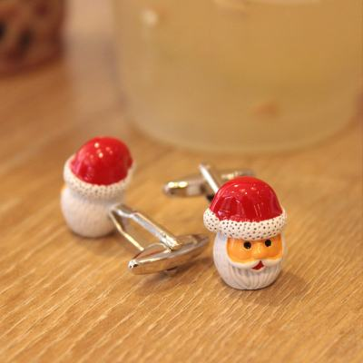 Santa Claus & Red Gloves Cufflinks Christmas Gifts for Father Him