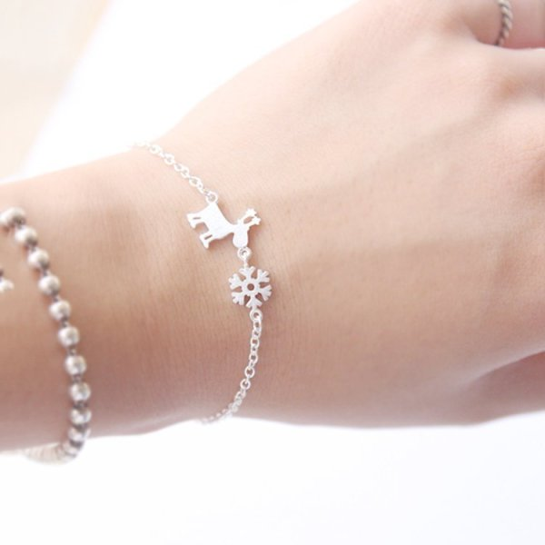 Silver Reindeer and Snowflake Bracelet
