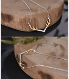 Silver Reindeer Horn Necklace